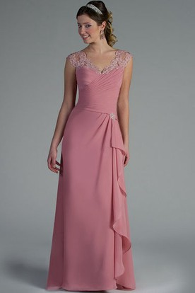 Appliqued V Neck And Cap Sleeve Chiffon Long Mother Of The Bride Dress With Side Drape