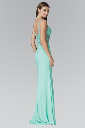 Sheath Spaghetti Sleeveless Jersey Low-V Back Dress With Split Front And Appliques