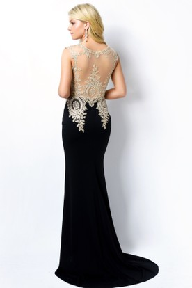 Sheath Long Scoop-Neck Sleeveless Jersey Illusion Dress With Beading