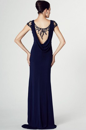 Sheath Cap Sleeve V-Neck Appliqued Jersey Prom Dress With Brush Train
