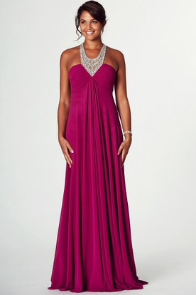 V-Neck Beaded Sleeveless Empire Chiffon Prom Dress