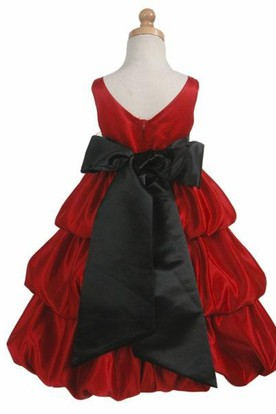 Sleeveless Tiered Satin Flower Girl Dress
