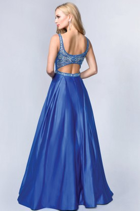 A-Line Scoop-Neck Sleeveless Satin Zipper Dress With Beading And Waist Jewellery