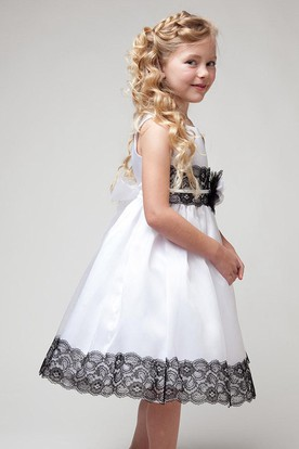 Tea-Length Appliqued Floral Lace&Satin Flower Girl Dress With Sash