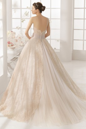 Ball Gown Floor-Length Strapless Lace&Tulle Wedding Dress With Appliques And V Back