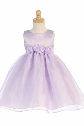 Tea-Length Tiered Sleeveless Organza&Satin Flower Girl Dress