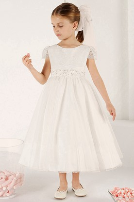 A-Line Tea-Length Beaded Short-Sleeve Scoop-Neck Tulle Flower Girl Dress With Lace