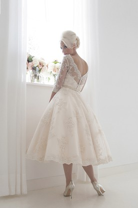 A-Line Tea-Length Jewel Neck 3-4 Sleeve Ribboned Lace Wedding Dress