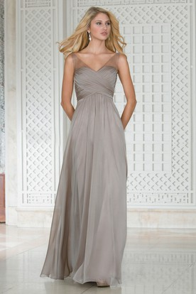 V-Neck Sleeveless A-Line Bridesmaid Dress With Illusion Straps And Pleats