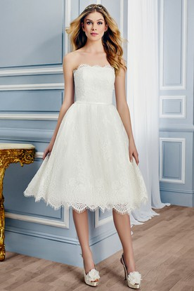 Strapless Tea-Length Lace Wedding Dress With V Back