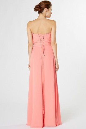 Strapless Maxi Ruched Chiffon Bridesmaid Dress With Waist Jewellery And Corset Back