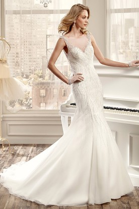 Beaded Mermaid Wedding Dress With Open Back And Illusive Neckline