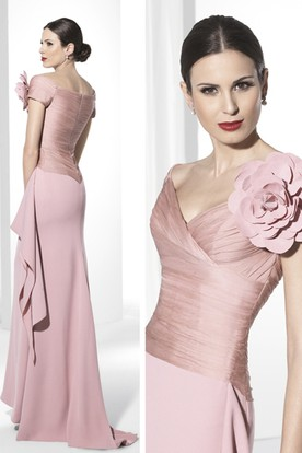 Sheath Ruched Short-Sleeve Floor-Length V-Neck Jersey Prom Dress With Flower And Draping