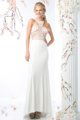 Sheath Floor-Length Jewel-Neck Sleeveless Jersey Zipper Dress With Beading