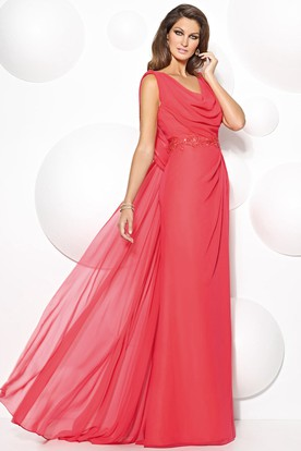 A-Line Cowl-Neck Sleeveless Appliqued Floor-Length Chiffon Prom Dress