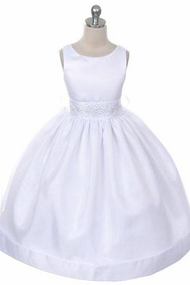 Tea-Length Beaded Sleeveless Organza&Satin Flower Girl Dress