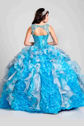Keyhole Back Sequined Bodice Ball Gown With Cascading Ruffles