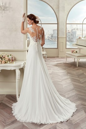 Sweetheart Sheath Satin Gown With Lace Bodice And Detachable Train