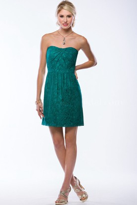 Strapless Short Lace Bridesmaid Dress With Pleats And Keyhole Back