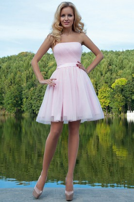 Short Strapless Ruched Tulle Prom Dress With Ribbon