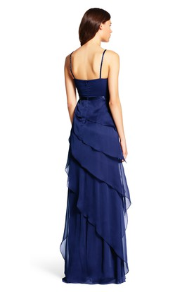 A-Line Ruched Spaghetti Sleeveless Floor-Length Chiffon Bridesmaid Dress With Waist Jewellery And Draping