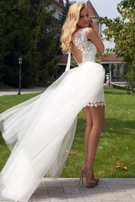 Sleeveless Scoop-Neck Maxi Tulle&Lace Wedding Dress With Keyhole
