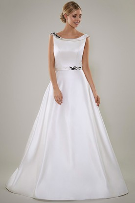 A-Line Sleeveless Scoop Floor-Length Beaded Satin Wedding Dress With Deep-V Back And Sweep Train