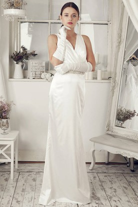 Sheath Maxi Sleeveless V-Neck Jeweled Satin Wedding Dress With Low-V Back And Bow