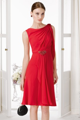 Ruched Scoop-Neck Midi Sleeveless Chiffon Prom Dress With Epaulet And Waist Jewellery