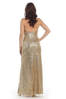 Sheath Long Strapless Sleeveless Sequins Backless Dress With Split Front