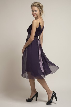 Tea-Length Spaghetti Sleeveless Ruched Chiffon Bridesmaid Dress With Low-V Back