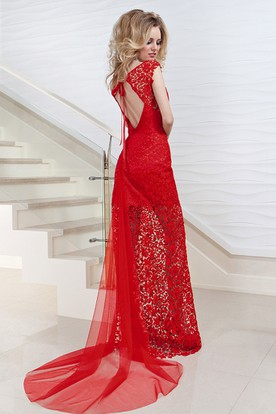 Pencil V-Neck Cap-Sleeve Floor-Length Lace Prom Dress With Keyhole Back And Watteau Train