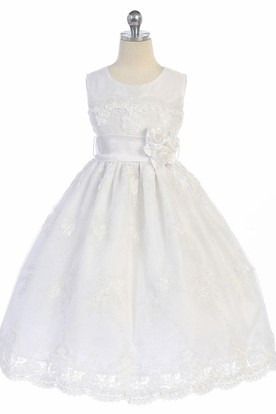 Appliqued Floral Tulle&Lace Flower Girl Dress With Sash