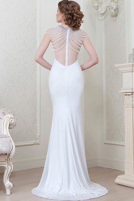 Sheath Floor-Length Scoop-Neck Cap-Sleeve Beaded Jersey Evening Dress