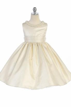 Tea-Length Sleeveless Pleated Flower Girl Dress