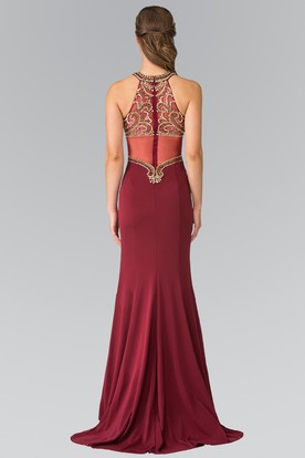 Sheath Long Scoop-Neck Sleeveless Jersey Illusion Dress With Sequins And Beading