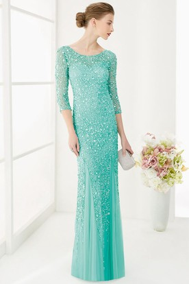 Sheath Scoop-Neck 3-4-Sleeve Maxi Sequins&Tulle Prom Dress