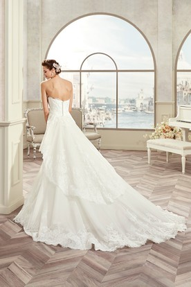 Sweetheart Lace Long Gown With Detachable Tier Train And Open Back