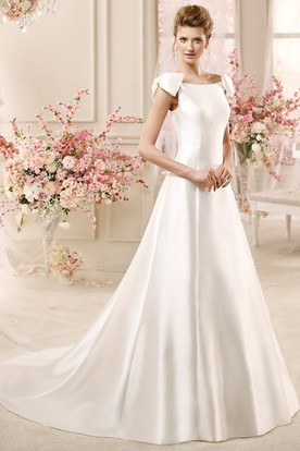 Jewel-Neck A-Line Satin Wedding Dress With Bow On Shoulders And Brush Train