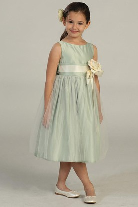 Tea-Length Tiered Tulle&Satin Flower Girl Dress