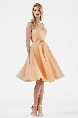 Knee-Length A-Line Floral Sleeveless Scoop Neck Organza Bridesmaid Dress