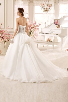 Sweetheart A-line Wedding Dress with Asymmetrical Ruching and Lace Corset