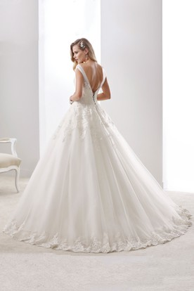 V-neck Cap sleeve A-line Wedding Dress with Open Back and Tulle Straps