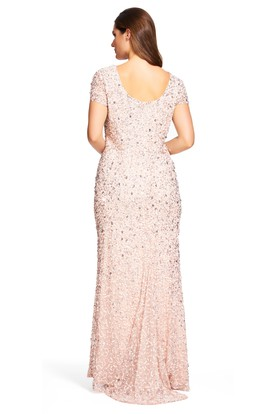 Floor-Length Mermaid Scoop Neck Short Sleeve Sequin Plus Size Bridesmaid Dress