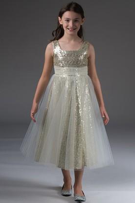 Flower Girl Square Neck Empire Sequin Tea Length Dress With Tulle-wrap Skirt