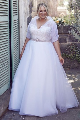 A Line Jeweled V Neck Tulle Plus Size Wedding Dress