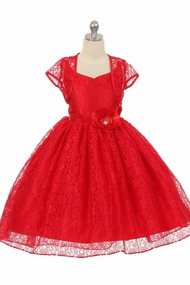 High-Low Floral Criss-Cross Lace Flower Girl Dress With Sash