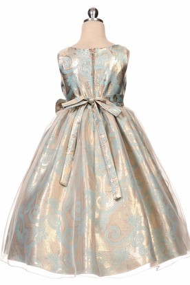 Tea-Length Bowed Tiered Sequins&Organza Flower Girl Dress With Sash