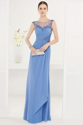 Scoop Neck Side Drape Chiffon Long Prom Dress With Appliques And Open Back