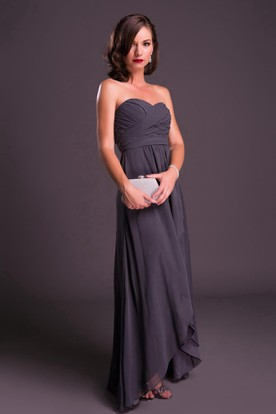 High-Low Sleeveless Ruched Sweetheart Chiffon Bridesmaid Dress